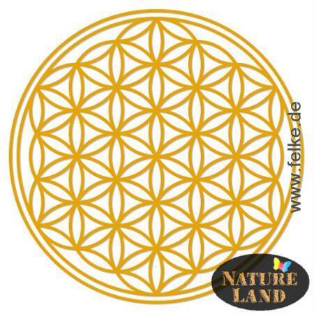 blume des lebens aufkleber transparent gold rund 9 50cm natureland. Black Bedroom Furniture Sets. Home Design Ideas